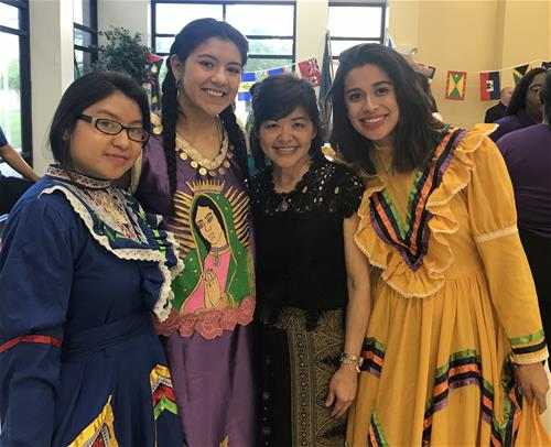 Students representing Mexico at the Multicultural Festival